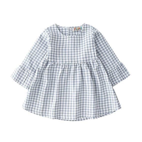 K-youth Vestidos Bebe Niña, Vestido de Princesa Estampado de Enrejado Manga Larga de
