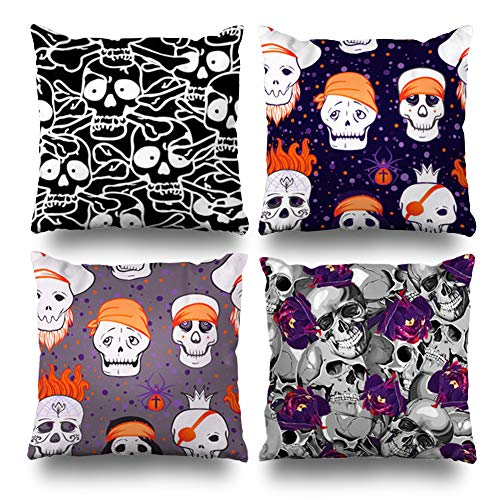 (Set of 4 Decorativepillows Case Throw Pillows Covers for Couch/Bed 18 x 18 inch,Skull Scary Halloween Pirate Home Sofa Cushion Cover Pillowcase Gift Bed Living)