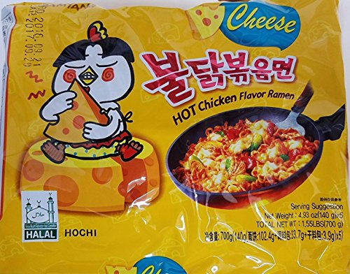2016 new Samyang Ramen / Spicy Chicken Roasted Stir Buldak Noodles Cheese Flavor, 4.93 oz (Pack of 5)