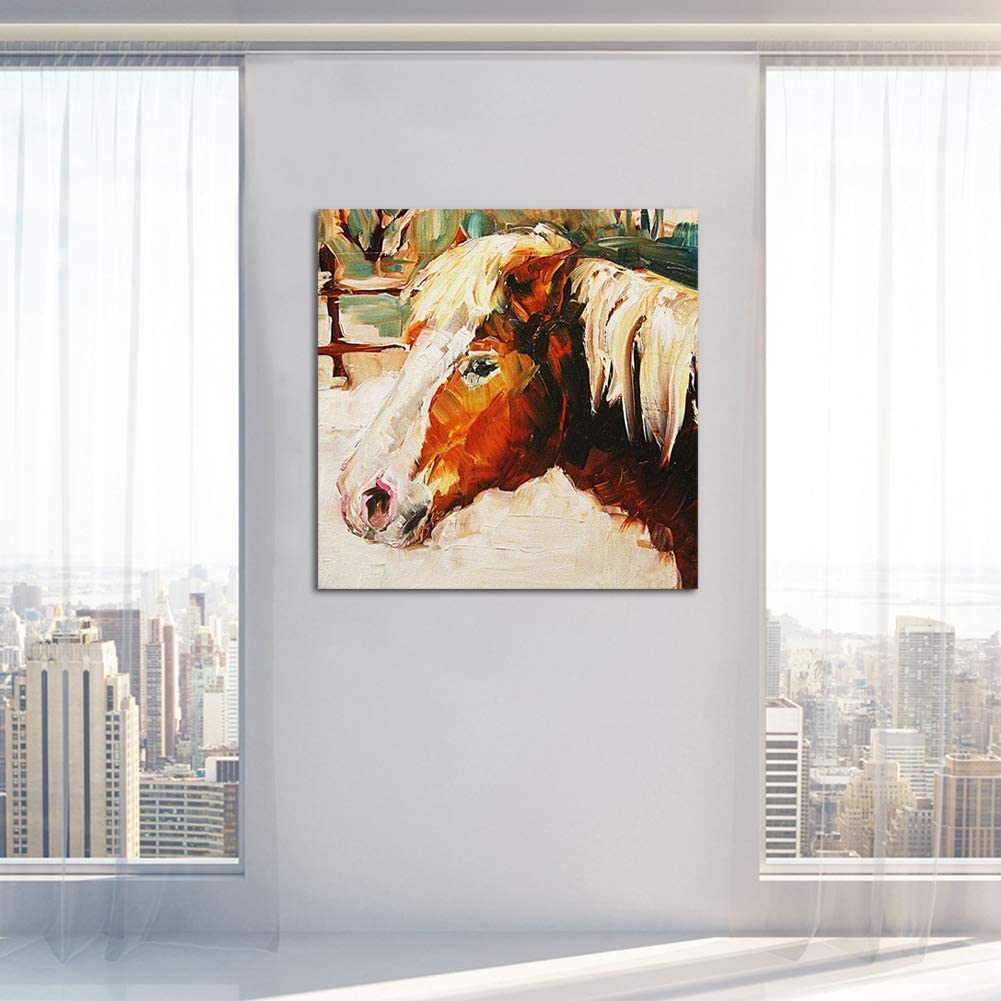 Caballo Marrón Lienzo Imprimir Chorro De Tinta Animales Pintura Retro Estilo Pared Decor Arte Pintura Elegante Hogar Decoración Artesanías,Noframe,80x80cm