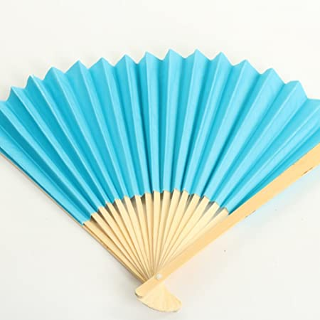 Koyal Wholesale Paper Fans Bulk, Turquoise 50-Pack DIY Hand Held ...