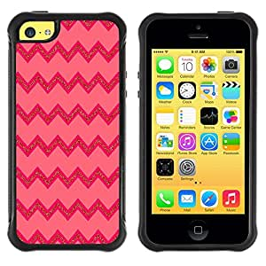 "Pulsar iFace Series Tpu silicona Carcasa Funda Case para Apple iPhone 5C , Líneas rosadas patrón zigzag"""