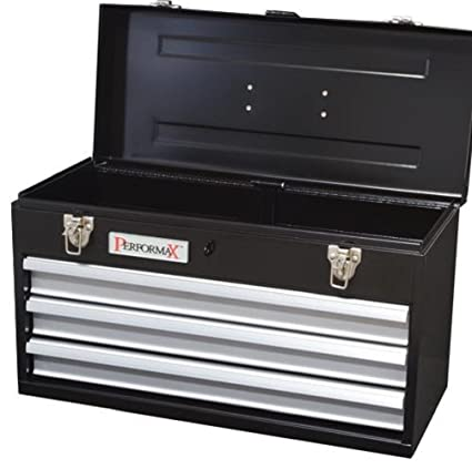 performax black 3-drawer heavy-duty metal tool box - full-length ...