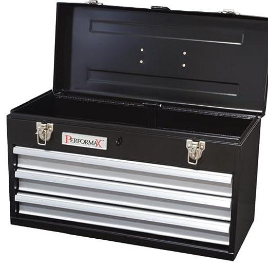 performax black 3-drawer heavy-duty metal tool box - full-length ...