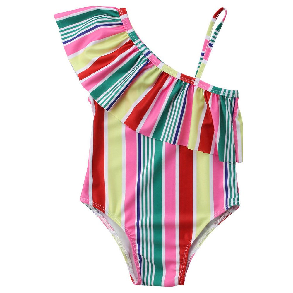 ONE'S Baby Toddler Girls Single Shoulder Rainbow Striped Piece Bikini Bathing Suit