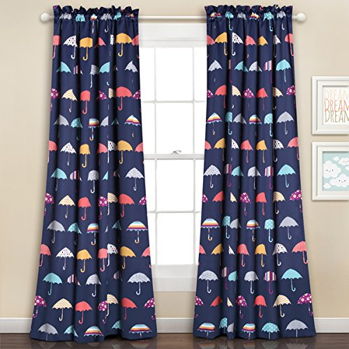 Lush Decor Navy Polyester Umbrella Room-darkening Window Curtain Panel Pair - Pottery Barn Market Umbrella
