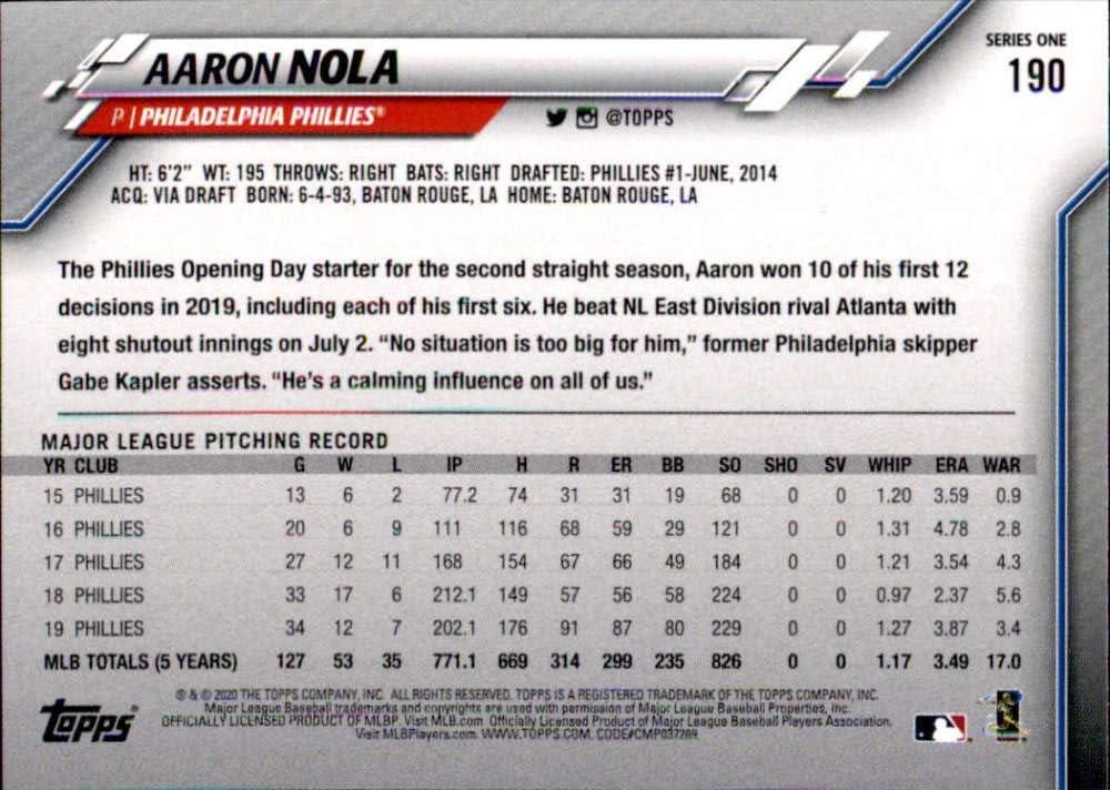 2020 Topps #190 Aaron Nola NM-MT Phillies