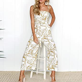... Sling Camisole Overalls Strap Sleeveless Vest Party Holiday Casual Office OL Wide Leg Cropped Pants Trousers with Pocket: Amazon.co.uk: Clothing