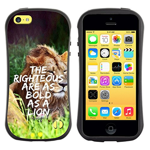 DREAMCASE Citation de Bible Silicone et Rigide Coque Protection Image Etui solide Housse T¨¦l¨¦phone Case Pour APPLE IPHONE 5C - PROVERB 28:1 - THE RIGHTEOUS ARE AS BOLD AS A LION
