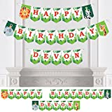 Big Dot of Happiness Personalized Jungle Party Animals - Custom Safari Zoo Animal Birthday Party Bunting Banner &Decorations - Happy Birthday Custom Name Banner