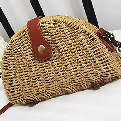 Bag Travel Khaki with Bloomma x Lining 12cm Women for Straw Handmade Crossbody Bag Polyester Summer Beach Rattan 19cm x 5cm HqnOXwq4