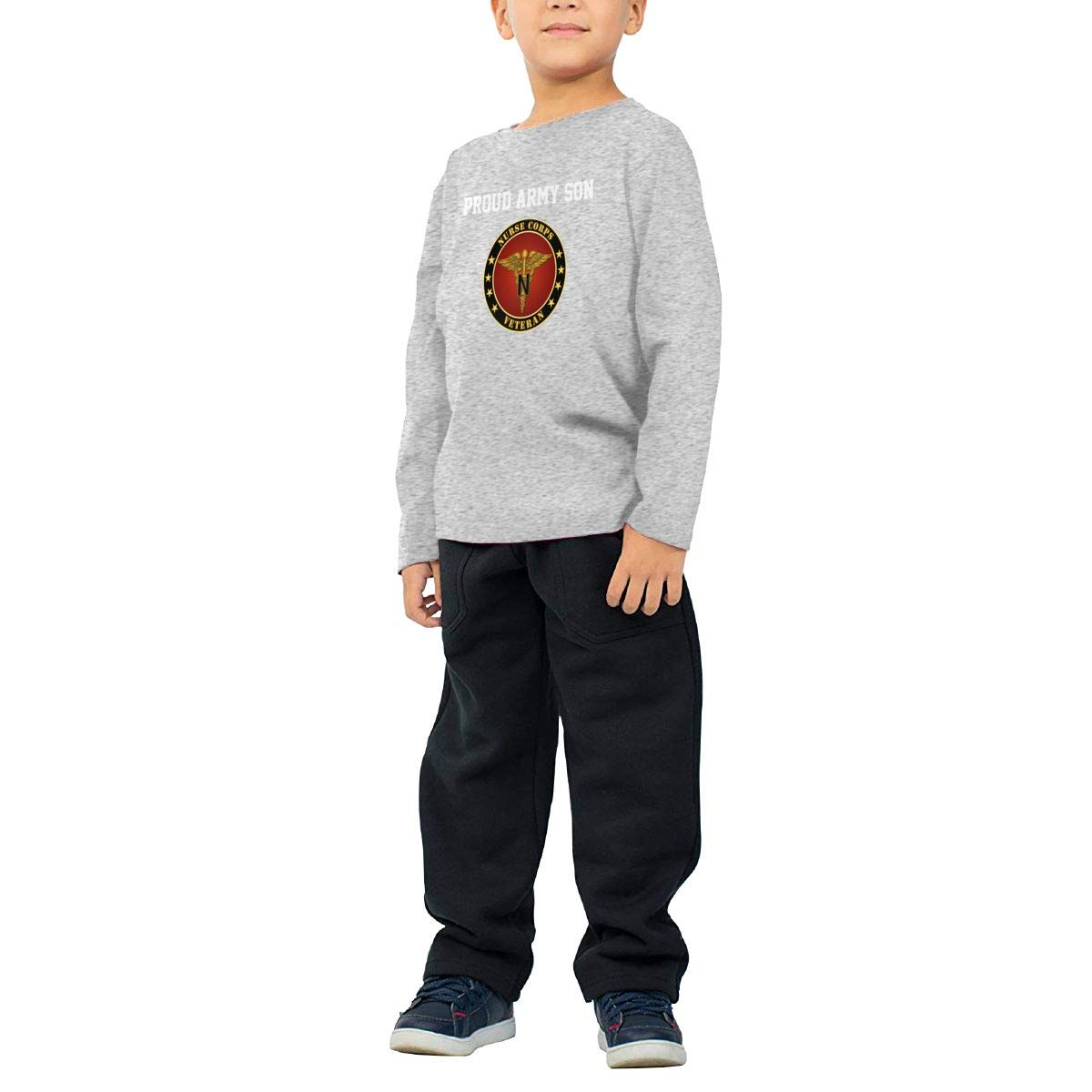 HADYKIDSLOVE Army Nurse Corps Kids T-Shirt Long Sleeve Boys Girls T-Shirt