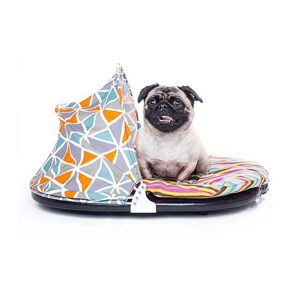 colorful Striped Pet Nest, Steel Folding Tent PU Base Pet Bed, Easy to Carry for Small Pets