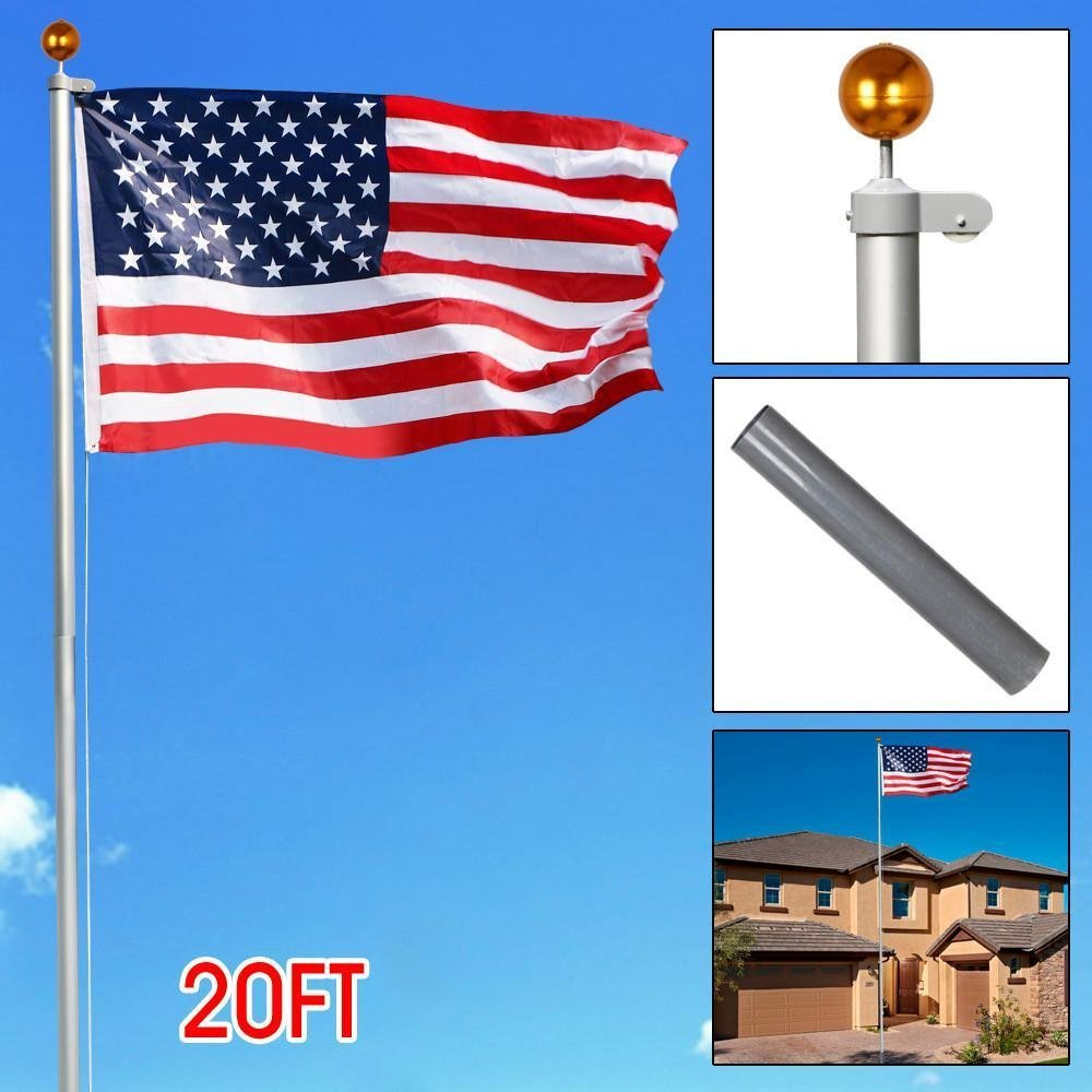 Yaheetech Heavy Duty Flag pole Gold Ball Outdoor Kit Halyard Patio Pole, 20ft ,with 2Pcs 3'x5' Flags by Yaheetech (Image #8)