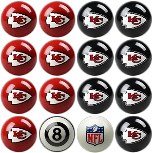 Imperial Officially Licensed NFL Merchandise: Home vs. Away Billiard/Pool Balls, Complete 16 Ball Set, Kansas City Chiefs