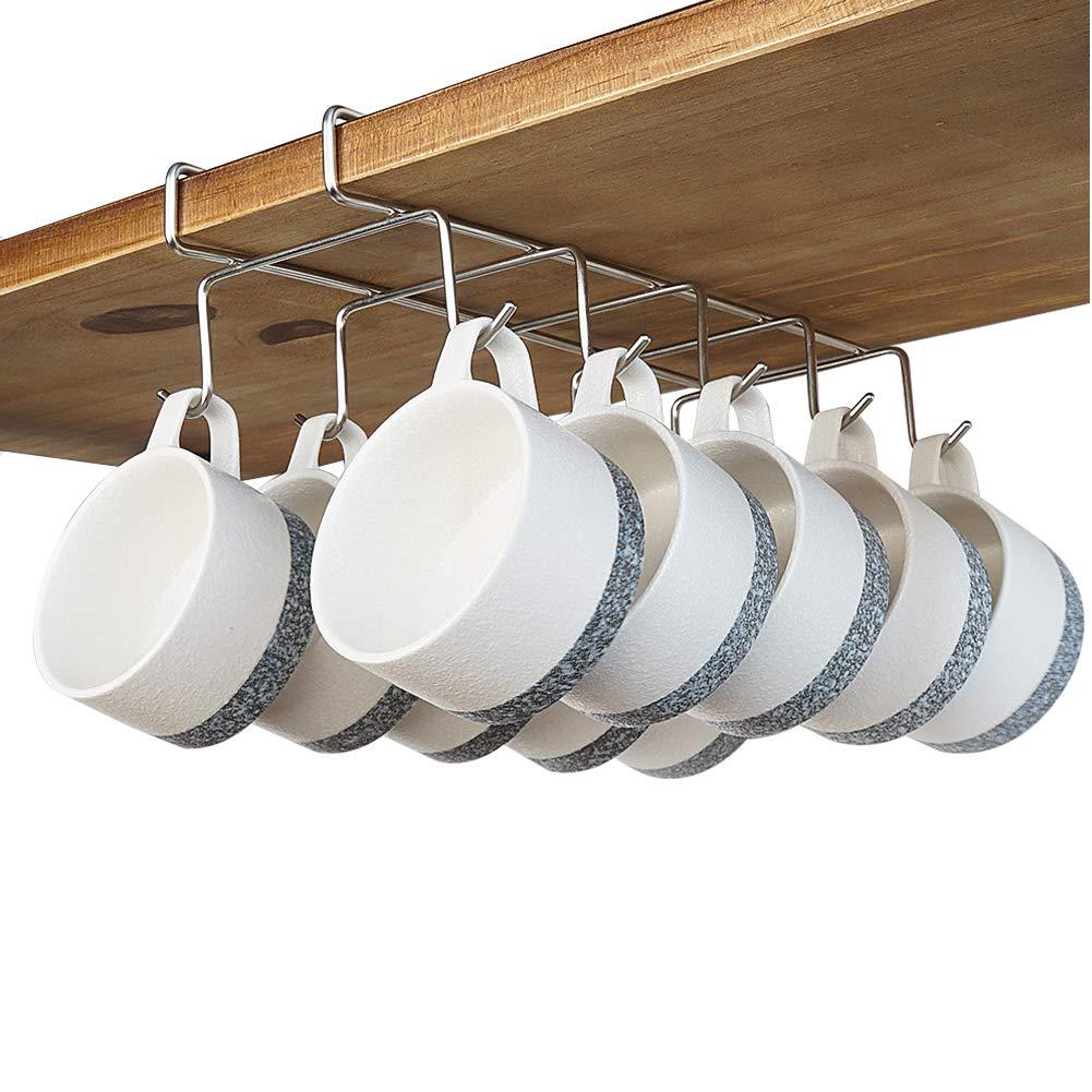 bafvt Coffee Mug Holder - 304 Stainless Steel Cup Rack Under Cabinet, 10Hooks, Fit for The Cabinet 0.8'' or Less by bafvt