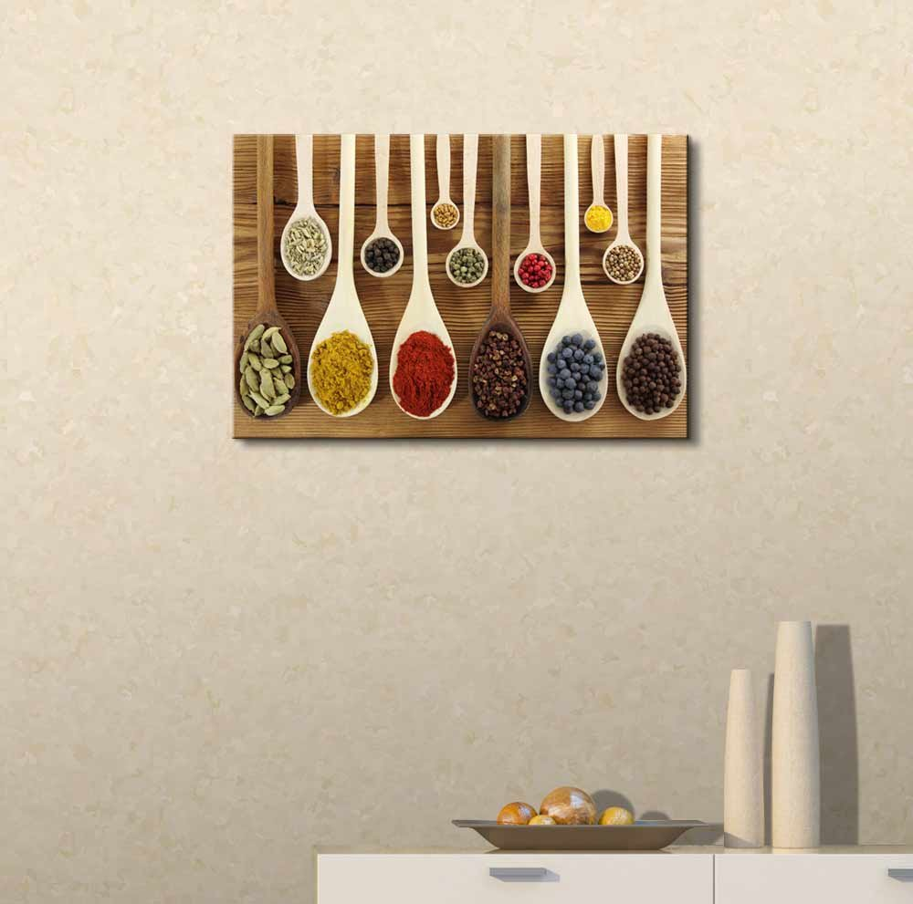 Colorful Spices in Wooden Spoons - Canvas Art Wall Art - 24