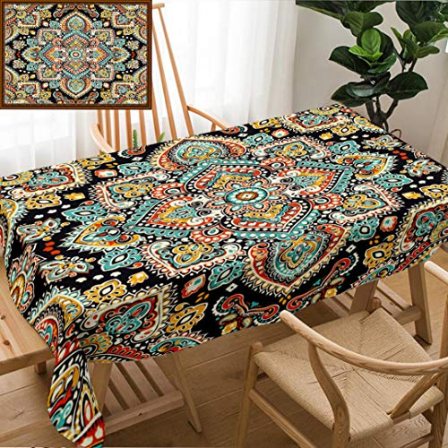 Skocici Unique Custom Design Cotton and Linen Blend Tablecloth Indian Floral Paisley Medallion Pattern Ethnic Mandala Ornament Henna Tattoo Style Can BeTablecovers for Rectangle Tables, 78