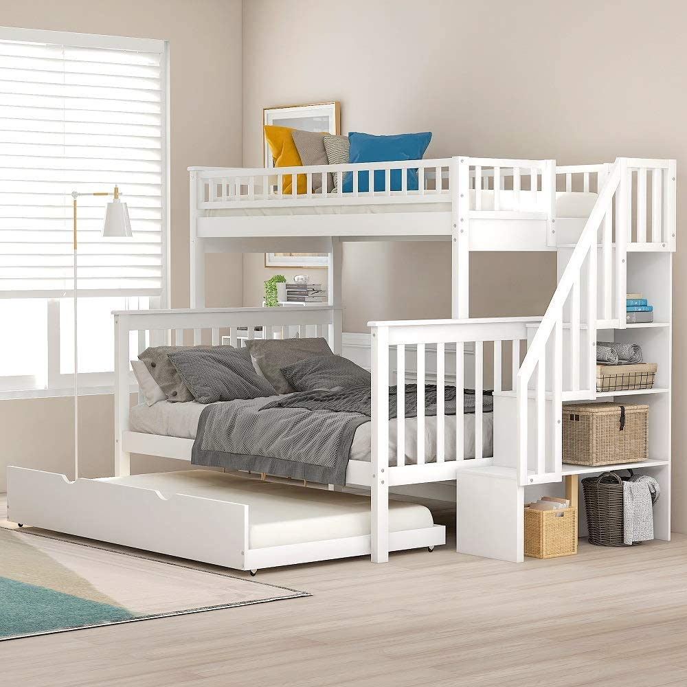 Solid Wood Twin Over Full Bunk Beds with Storage Drawers, Bunk Beds for Kids with Ladder and Guard Rail (White (Bunk Bed with Trundle))