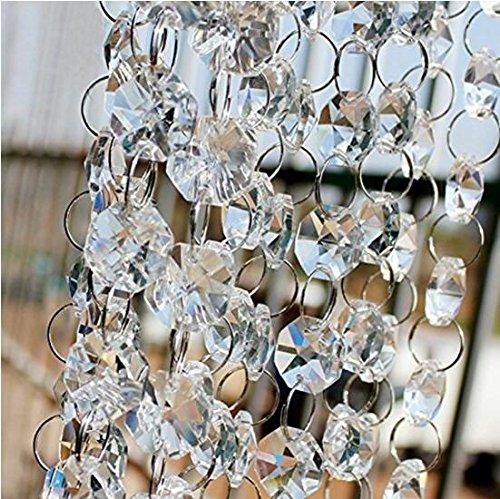 Davias 13 Feet Crystal Beads Chain Garland of Clear Chandelier Bead Lamp (Lamp Bead)
