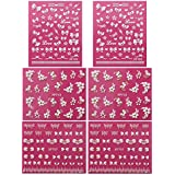 Fingernail Stickers Nail Art Nail Stickers Self-Adhesive Nail Stickers 3D Nail Decals - Bows, Hearts & Flowers (3 designs/6 sheets)