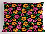 Ambesonne Hawaii Pillow Sham, Floral Bouquet Tropical Sketch Style Botany Garden Theme Aloha, Decorative Standard King Size Printed Pillowcase, 36 X 20 inches, Orange Hot Pink Forest Green