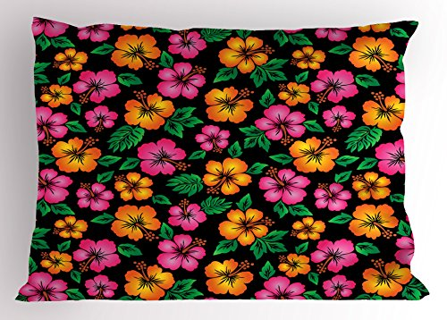 Ambesonne Hawaii Pillow Sham, Floral Bouquet Tropical Sketch Style Botany Garden Theme Aloha, Decorative Standard King Size Printed Pillowcase, 36 X 20 inches, Orange Hot Pink Forest Green by Ambesonne