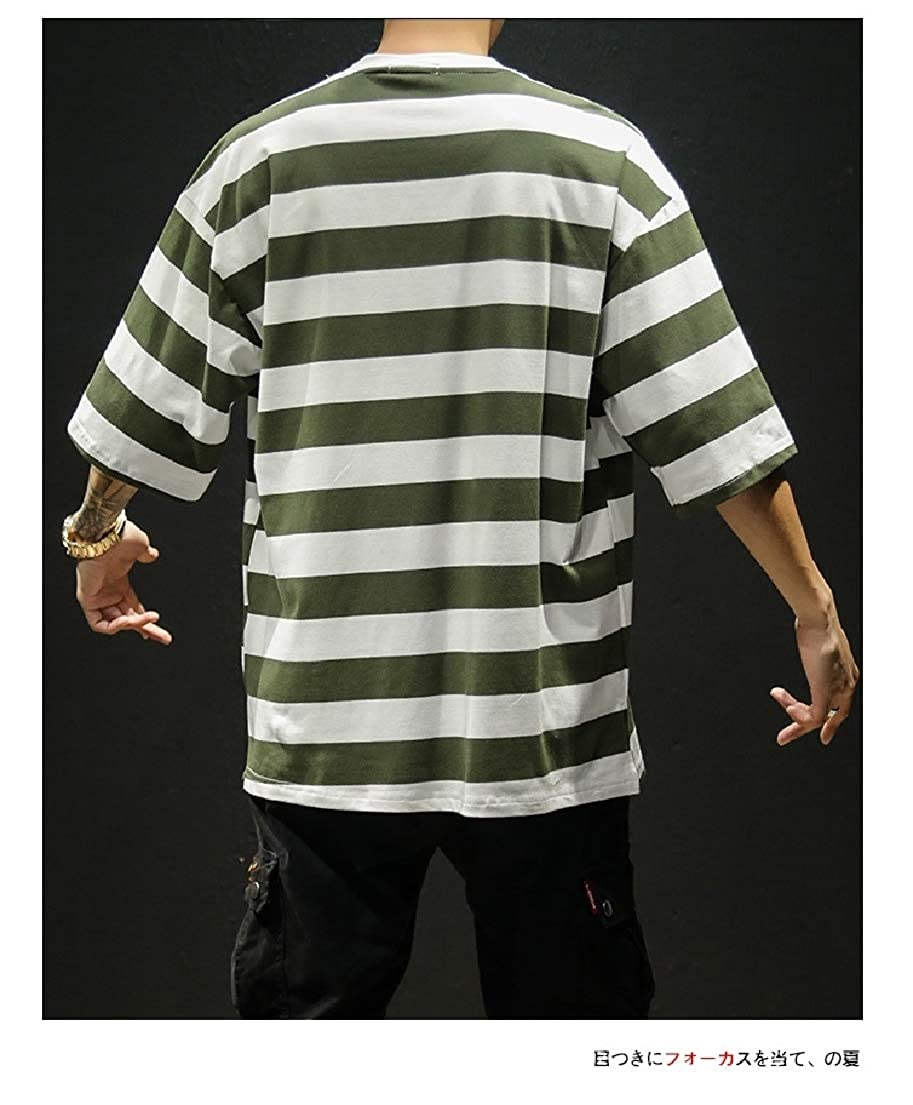 Vska Mens Oversize Short Sleeve Stripes Printed 1//2 Long Sleeve Tees Shirt