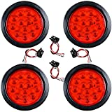"""4pcs Red Round 4"""" 12- LED Brake Stop Tail Light for Cargo Semi Trailer Container Tractor Truck Bus Lorries"""