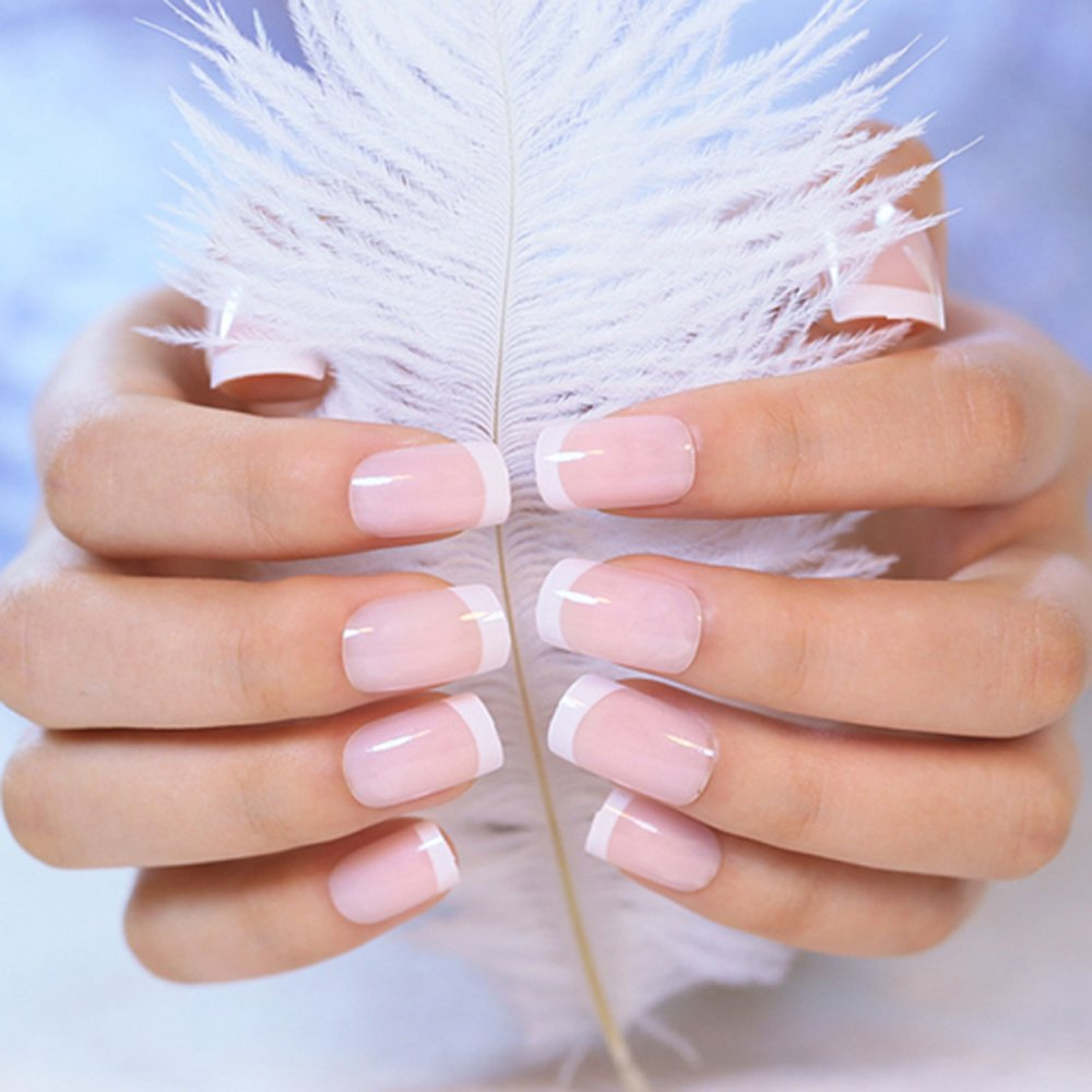 Unicra False Nail Tips French Fake Nails for Women and Girls