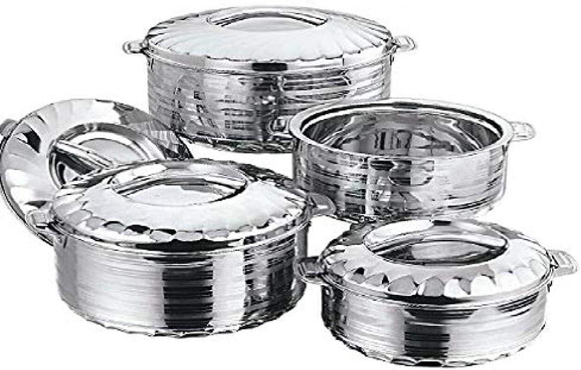 Vinod 4-Piece Insulated Casserole Food Warmer/Cooler Hot Pot Gift Set, 4000mL+5000mL+7500mL+10000mL, Stainless Steel