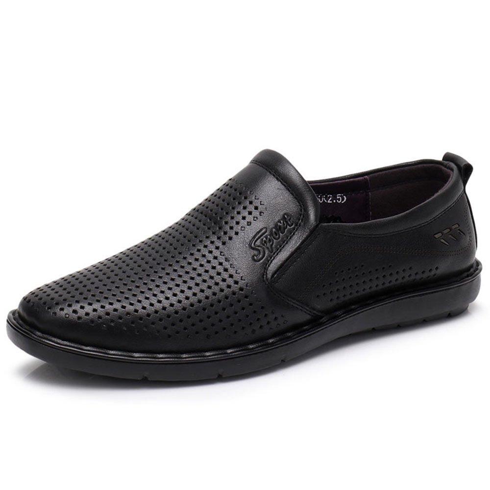 Sandalias Huecas de Verano para Hombres Zapatos Ocasionales de Negocios Respirables de Cuero 42 EU Negro