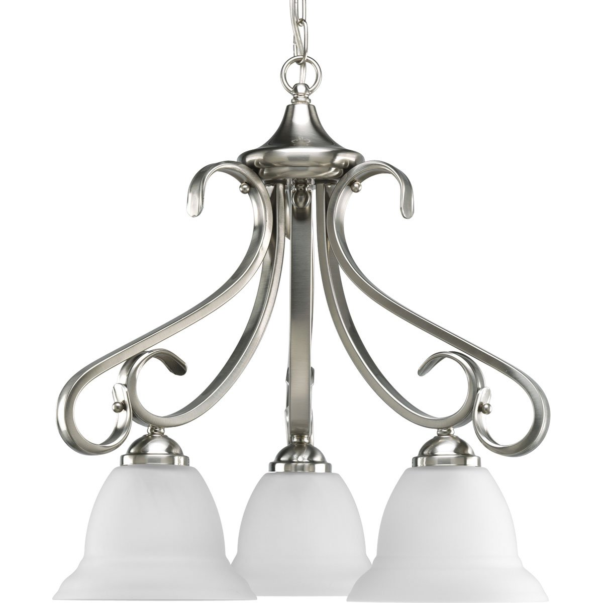 Progress lighting p4405 09 3 light chandelier with etched white bell progress lighting p4405 09 3 light chandelier with etched white bell shaped glass bowls and squared scrolls and arms brushed nickel amazon aloadofball Gallery