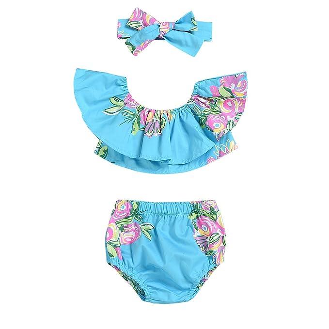 Amazon.com: 3 piezas Bañador para bebé niña bañadores Floral ...