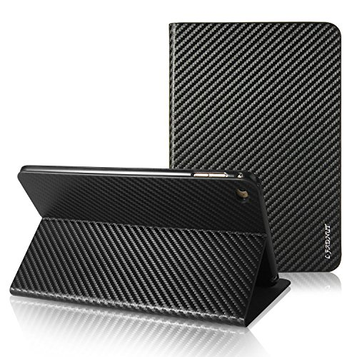 iPad Air 2 Case,Premium Carbon Fiber Lines Flip PU Leather Case,Magnetic Closure with Stand Wallet Card Slot Protective Bumper Silicone Cover for iPad Air 2 -