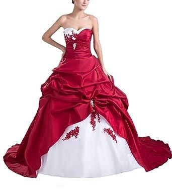 info pour qualité stable mieux choisir ISHSY Robes de Mariée Mariage Longue Femme Rouge et Blanc sans Bretelles  Tailles Grossesses Satin Bustier