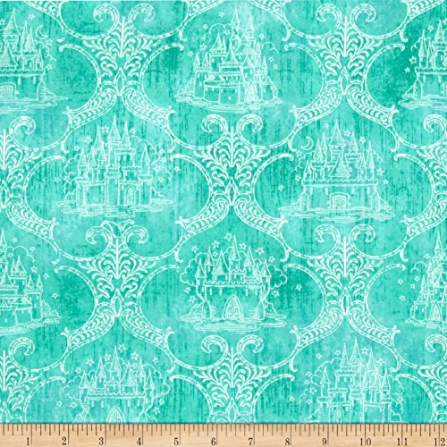 Toile Castle - Royal Princess Castle Toile Dark Aqua Fabric By The Yard