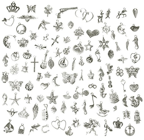 Korlon 105 Pieces Mixed Silver Charm Pendants Metal DIY Craft Charms for Jewelry Making and (Diy Costume Wings)