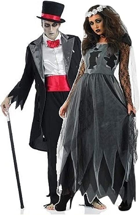 Ladies and Mens Couples Corpse Ghost Zombie Bride & Groom Halloween Fancy Dress Costumes Outfits (Ladies UK 28-30 & Mens Large) Black