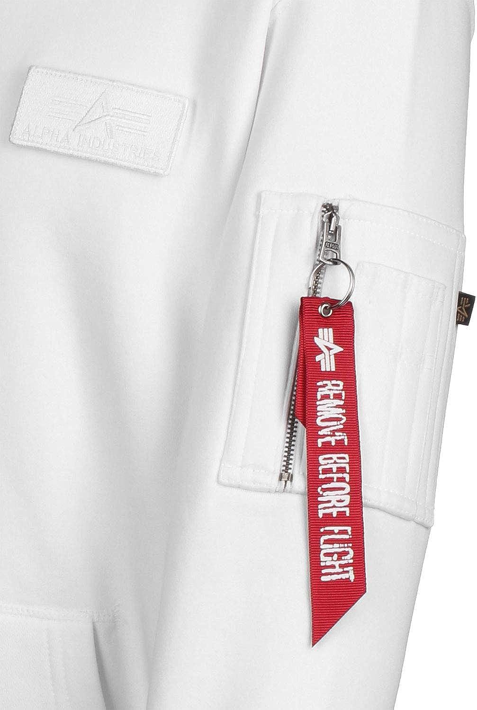 Alpha Industries Red Stripe Hoodie Weiß/Rot