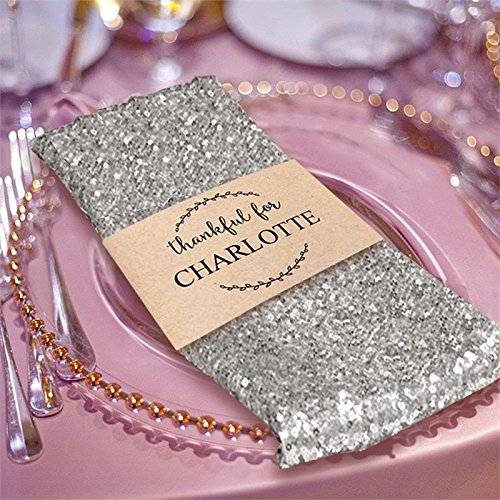 BalsaCircle 5 pcs 20-Inch Silver Sequins Napkins Wedding Party Restaurant Holiday Dinner by BalsaCircle