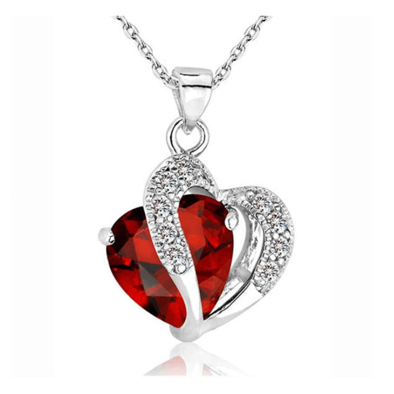 HUAMING Fashion 2 Heart Crystal Pendant Necklace Two Tones Dainty Silver Chain Necklace Jewelry for Women Girls Elegant Necklace (Red)