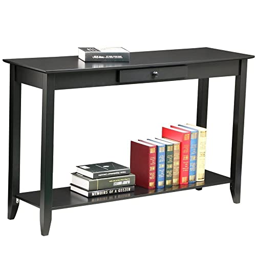 Yaheetech 2 Tier Console Sofa Table with Storage Shelf Drawer Solid Wood for Living Room Entryway