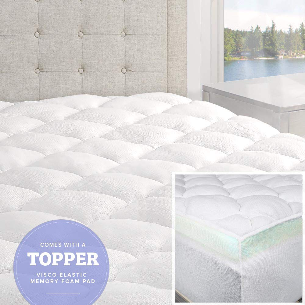 eLuxurySupply Bamboo Mattress Topper with Fitted Skirt - Double Thick Extra Plush Mattress Topper - 2 Pieces | Hypoallergenic Mattress Toppers | Queen