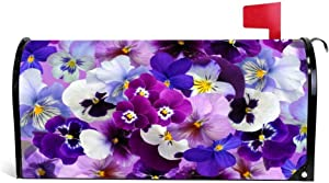EricauBird Beautiful Pansies Spring Flowers Mailbox Cover Mail Box Wrap Yard Garden Decor, 18x21 Magnetic Mailbox Wraps