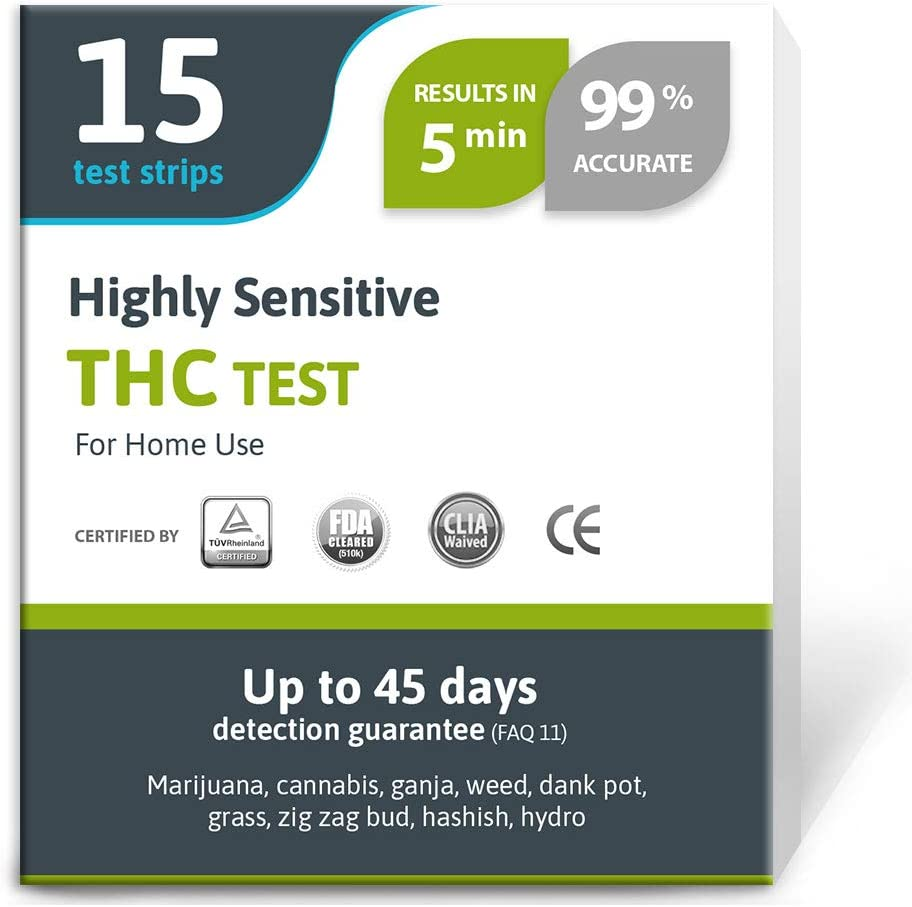 Exploro Highly Sensitive Marijuana THC Test Kit - Medically Approved Drug Test Strips for Detecting Any Form of THC in Urine up to 45 Days in 5 Minutes Only