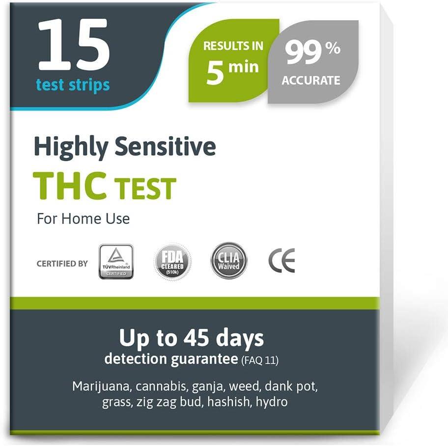 Exploro Kit de Prueba de Drogas THC – Test de Cannabis Altamente Sensible – Tiras de Prueba de Drogas Medicamente Aprobadas – Detectan Cualquier Forma de THC en Orina hasta 45 Días en 5 Minutos