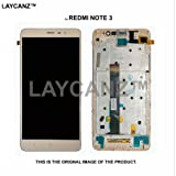 LAYCANZ Original.for Xiaomi Redmi Note 3 Gold Bezel Frame Full Assembly LCD Display + Touch Digitizer Glass +Tempered Glass Screen Protector