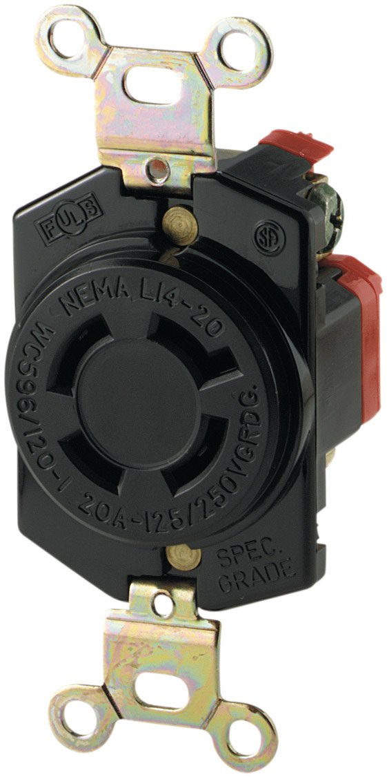 Eaton L1430C 30-Amp 125/250-Volt Hart-Lock Industrial Grade Connector with Safety Grip, Black and White