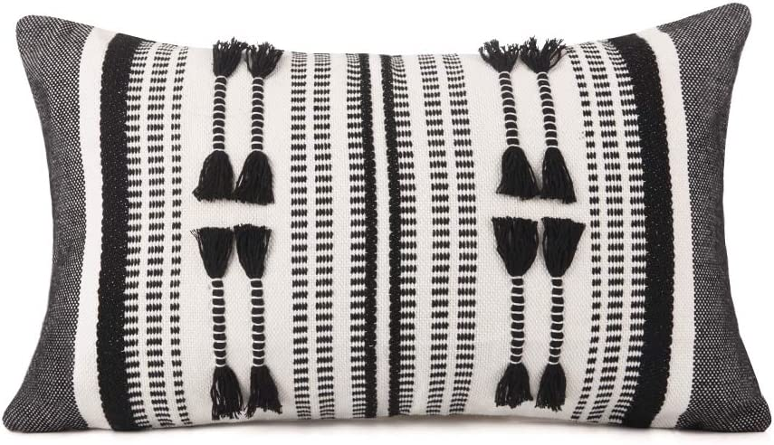 cygnus Moroccan Woven Lumbar Pillow Covers 12x20 inch Boho Farmhouse Decorative Linear Stripe Textured Cushion Cover for Indoor Outdoor Decor,Black and Cream